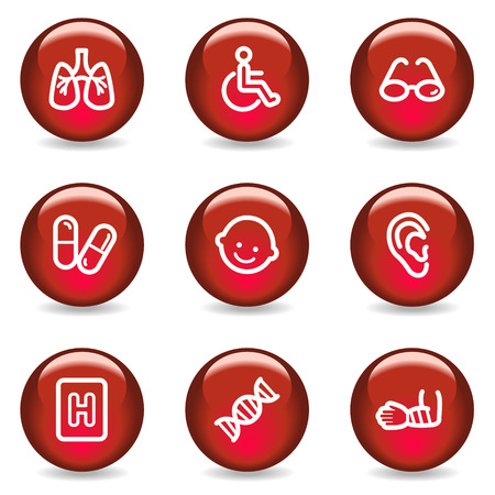 Medicine web icons set 2, red glossy series Stock Vector - 5296045