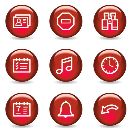Organizer web icons, red glossy series Vector