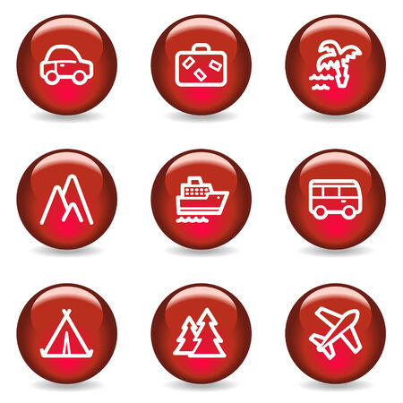 air liner: Travel web icons, red glossy series Illustration