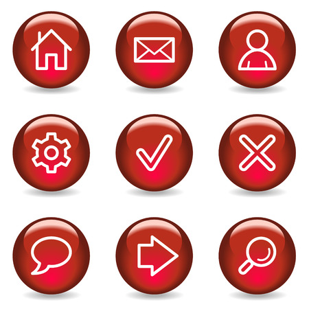 Basic web icons, red glossy series Vector