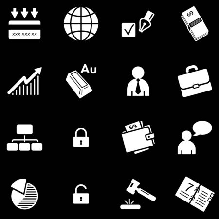 Business white web icons Stock Vector - 5295965