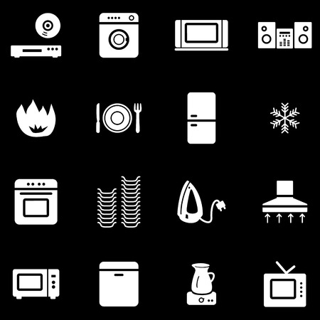 black appliances: Home appliances white web icons Illustration