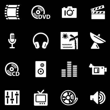 Media white web icons Stock Vector - 5295956