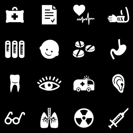 Medicine white web icons Vector