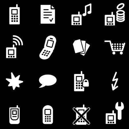 Mobile phone white web icons Vector