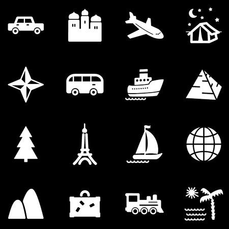 Travel white web icons Vector