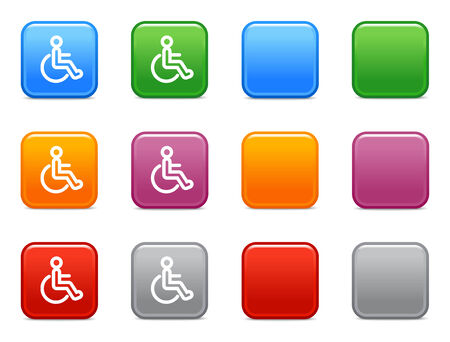 disabled person: Color buttons with disabled person icon Illustration
