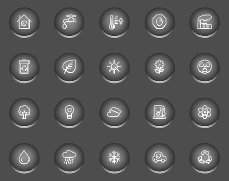 Ecology web icons, metal circle buttons series Vector