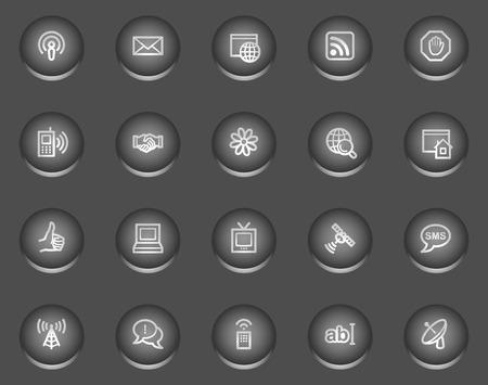 icq: Internet communication web icons, metal circle buttons series