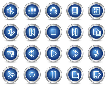 Audio video edit web icons, blue circle buttons series Vector