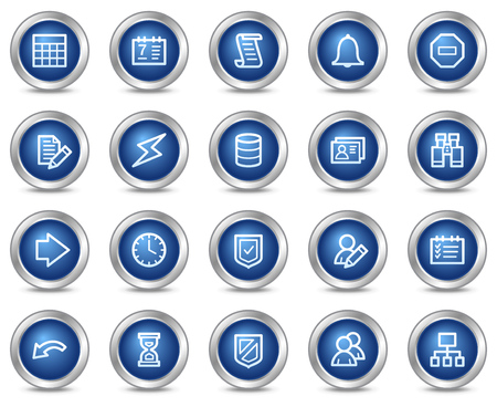 Database web icons, blue circle buttons series Vector