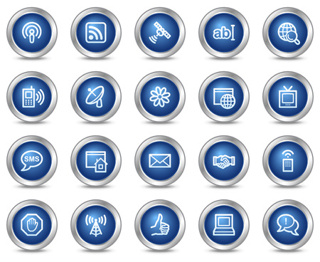 Internet communication web icons, blue circle buttons series Vector
