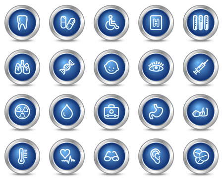 ear drop: Medicine web icons, blue circle buttons series Illustration