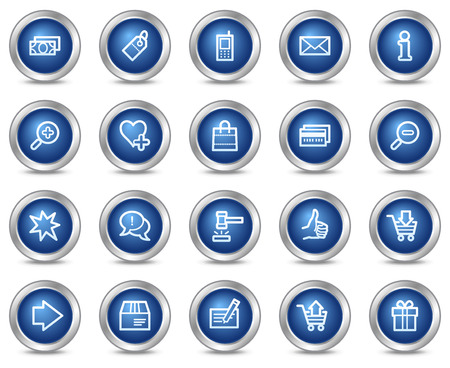 Shopping web icons, blue circle buttons series Vector