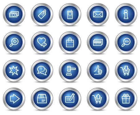 Web de la cesta de los iconos, botones de círculo azul de la serie