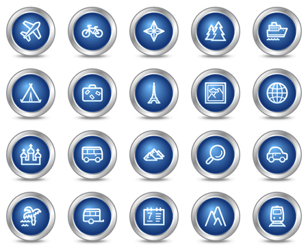 Travel web icons, blue circle buttons series Vector