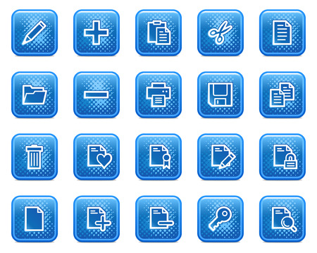 Document web icons, blue square buttons with dots Stock Vector - 5584559