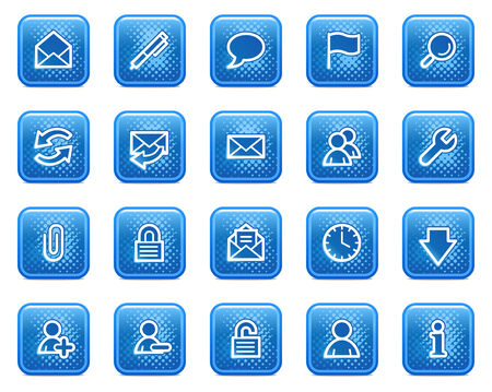 E-mail web icons, blue square buttons with dots Vector