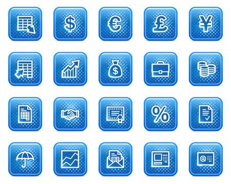 Finance web icons, blue square buttons with dots Vector