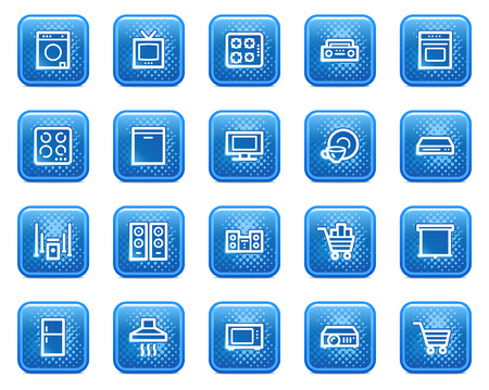 Home appliances web icons, blue square buttons with dots Stock Vector - 5584569