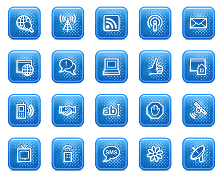 Internet web icons, blue square buttons with dots Vector
