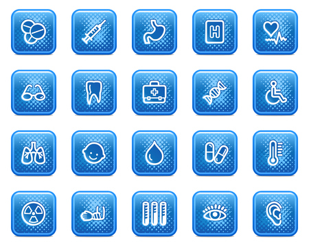 ear drop: Medicine web icons, blue square buttons with dots