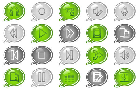 Audio video edit web icons, green and grey speech bubble series Vector