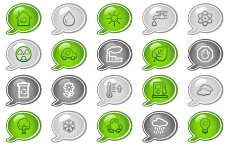 gas lamp: Ecology web icons, green and grey speech bubble series
