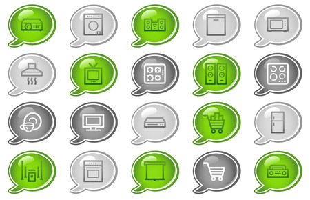 Home appliances web icons, green and grey speech bubble series Stock Vector - 5656833