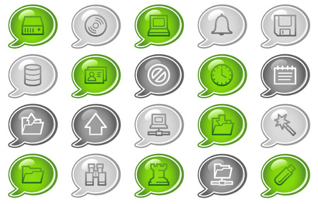 Server web icons, green and grey speech bubble series Vector
