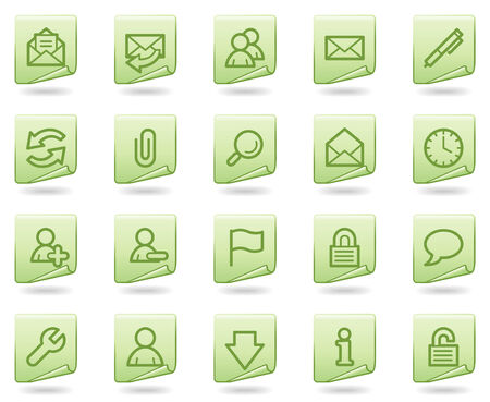 E-mail web icons, green document series Vector