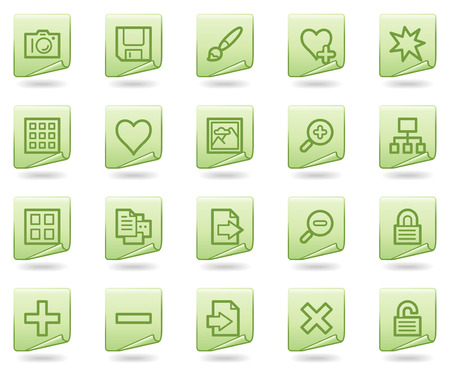 Image library web icons, green document series Vector