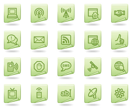 Internet communication web icons, green document series Vector