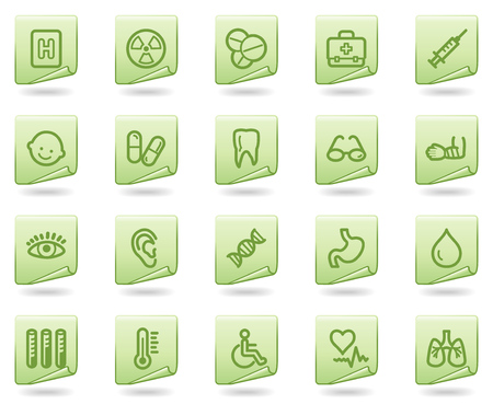 ear drop: Medicine web icons, green document series Illustration