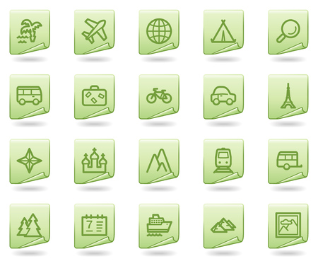 Travel web icons, green document series Stock Vector - 5656865