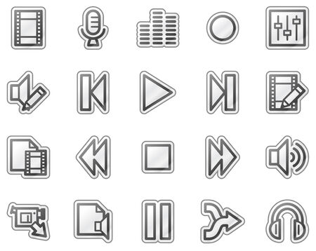 edit icon: Audio video edit web icons, grey sticker series
