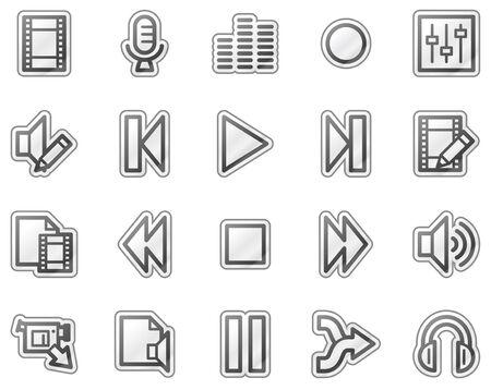 pausa: De audio y v�deo editar los iconos web, series etiqueta gris