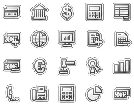 invoices: Banking web icons, grey sticker series