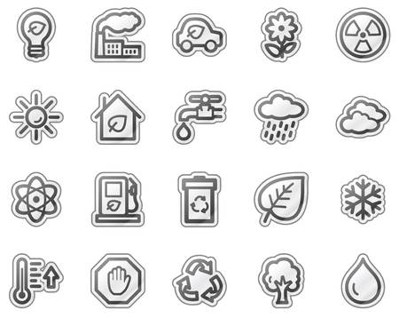 Ecology web icons, grey sticker series Vector