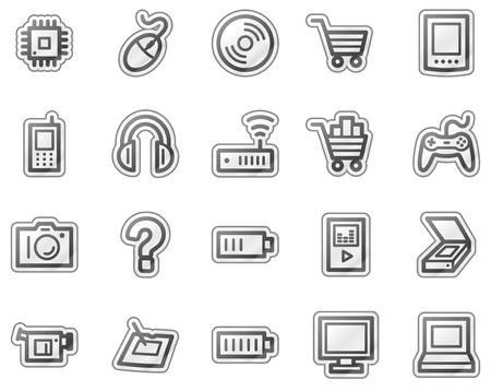 Electronics web icons, grey sticker series Stock Vector - 5657156