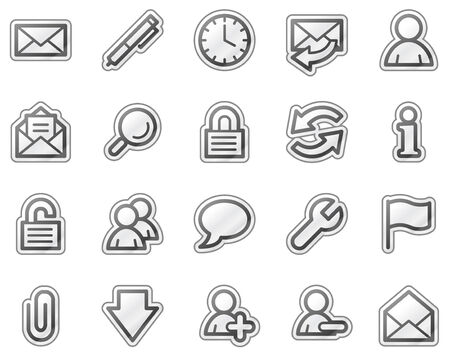 E-mail web icons, grey sticker series Stock Vector - 5656898