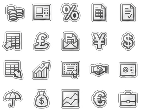 Finance web icons, grey sticker series Vector