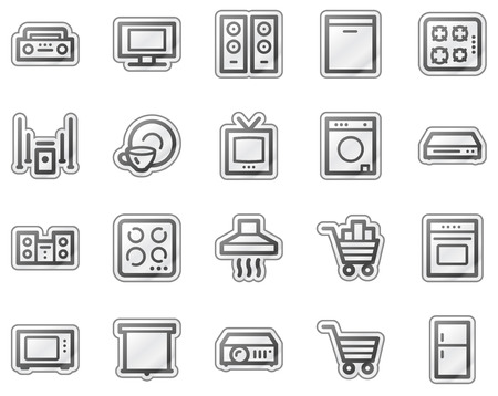 surround system: Home appliances web icons, grey sticker series