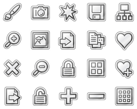 Image library web icons, grey sticker series Stock Vector - 5657113