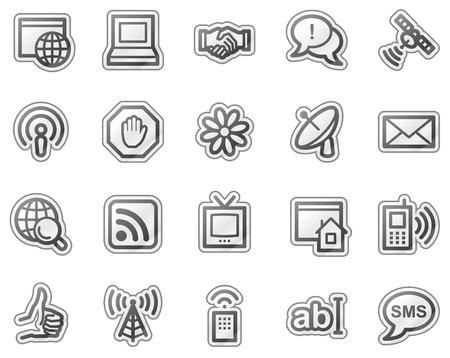 Internet communication web icons, grey sticker series Stock Vector - 5657159