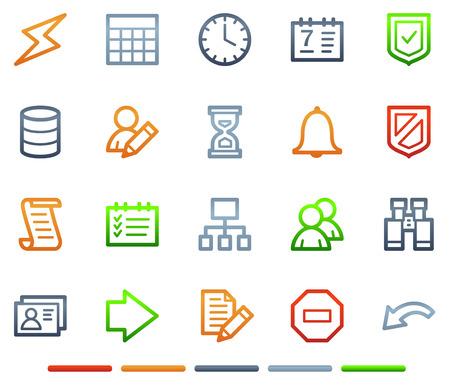 databank: Data base web icons, kleur symbolen serie  Stock Illustratie