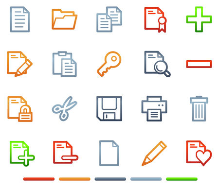 Document web icons, colour symbols series Vector