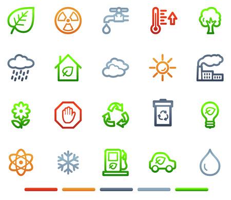 Ecology web icons, colour symbols series