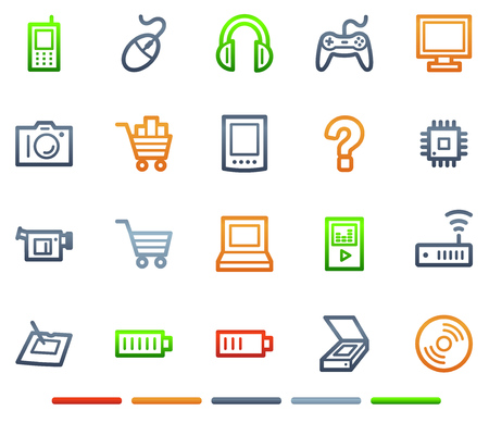 Electronics web icons, colour symbols series Vector