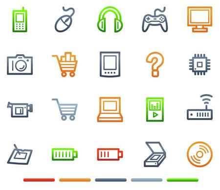 Electronics web icons, colour symbols series Vector